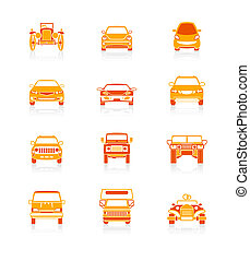 icônes, série, juteux, voitures, devant, |
