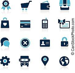 icônes, --, série, ligne, azur, magasin