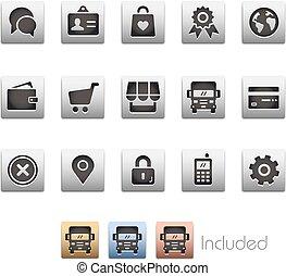 icônes, série, -, ligne, metalbox, magasin