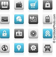 icônes, série, -, mat, magasin ligne