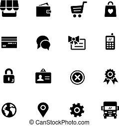 icônes, --, série, noir, magasin ligne