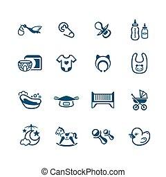 icônes, série, nouveau né, micro, objets, bébé,  