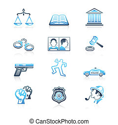 icônes, série, ordre, droit & loi, marin,  