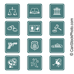 icônes, série, ordre, sarcelle, droit & loi, |