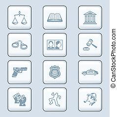 icônes, série, ordre, technologie, droit & loi, |