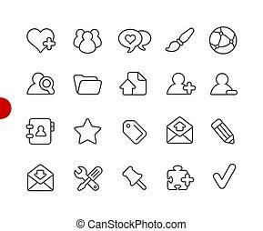 //, icônes, série, point, blog, rouges