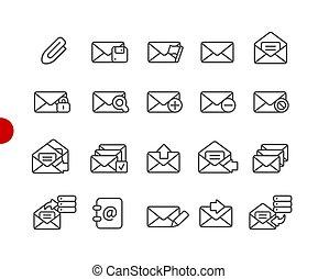 //, icônes, série, point, e-mail, rouges