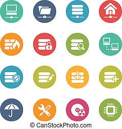 icônes, --, série, serveur, couleurs, frais