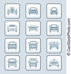 icônes, série, technologie, voitures, devant, |, vue