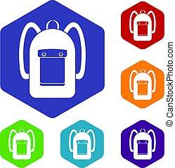 icônes, sac à dos, ensemble, hexagone
