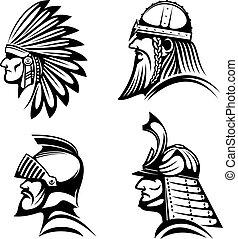 icônes, samouraï, indien natif, chevalier, viking
