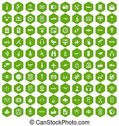 icônes, sans fil, vert, 100, hexagone, technologie