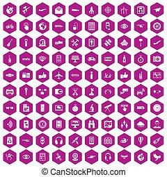 icônes, sans fil, violet, 100, hexagone, technologie