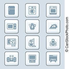 icônes, serie, technologie, électronique maison, |