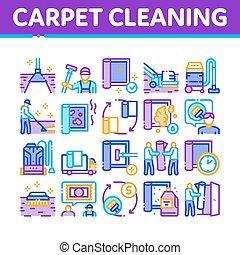 icônes, service, nettoyage moquette, ensemble, lavage, vecteur