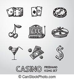 icônes, set., casino, vecteur, freehand, jeux & paris
