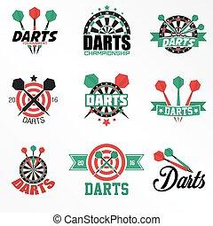 icônes, set., dards, étiquettes