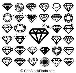 icônes, set., diamant