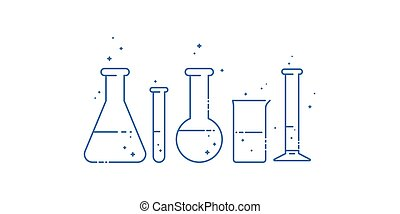 icônes, set., flask., chimique, équipement, vecteur, ligne, laboratory., design.