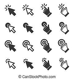 icônes, set., main, curseur, vecteur, flèche, déclic souris