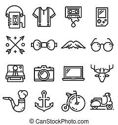 icônes, set., paquebot, illustration, vecteur, hipster, fond, blanc