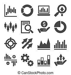 icônes, set., vecteur, commerce, marché, stockage