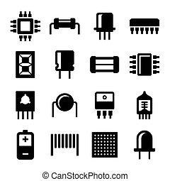 icônes, set., vecteur, composants, puce, électronique