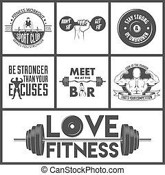 icônes, set., vecteur, fitness