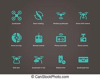 icônes, set., voler, bourdon, nouveau, technologies