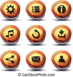 icônes, signe, boutons, jeu, ui, route