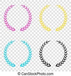 icônes, signe., couronne, cmyk, arrière-plan., laurier, transparent, cyan