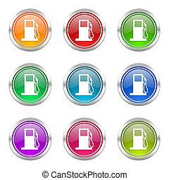 icônes, signe, essence, ensemble, station-service