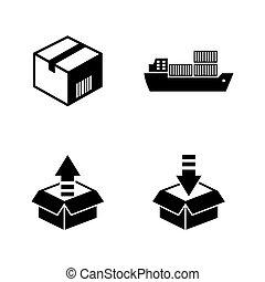 icônes, simple, expédition, vecteur, apparenté, logistics.