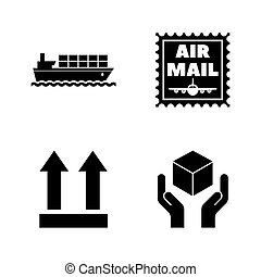 icônes, simple, livraison, apparenté, vecteur, shipping., logistique