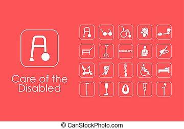 icônes simples, incapacités, ensemble, gens