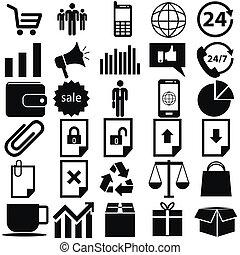 icônes, site, magasin, ligne