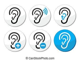 icônes, sourd, appareil acoustique, problème, oreille