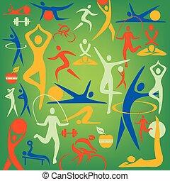 icônes, sport, décoratif, fitness, arrière-plan.