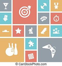 icônes, sport, loisir, conception, plat