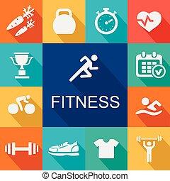 icônes sports, fond, fitness, style., plat