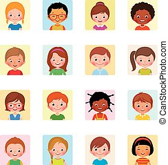 icônes, stockage, différent, illustration, avatars, collection, vecteur, nationalités, enfants, plat
