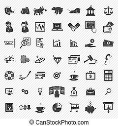 icônes, stockage, set., financier