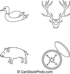 icônes, stockage, style, symbole, sauvage, boar., web., compas, illustration, cerf, contour, ensemble, collection, vecteur, chasse, ramure, canard