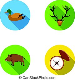 icônes, stockage, style, symbole, sauvage, boar., web., compas, illustration, cerf, ensemble, collection, vecteur, chasse, plat, ramure, canard