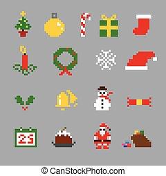 icônes, stockage, xmas01, pixel