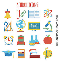 icônes, style, education., ensemble, plat