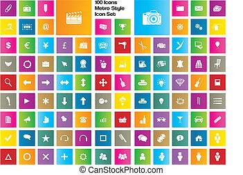 icônes, style, métro, -, ensemble, icône, 100