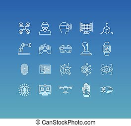 icônes, style, signe, ensemble, vecteur, ligne, 20, mono