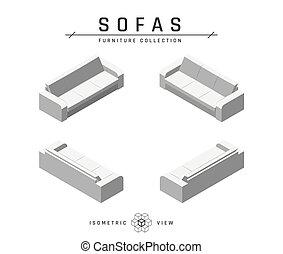 icônes, style, sofa, plat, ensemble, isométrique
