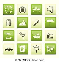 icônes, sur, voyage, arrière-plan vert, tourisme, voyage
